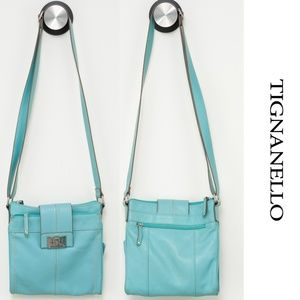 Tignanello Leather Blue Crossbody Purse
